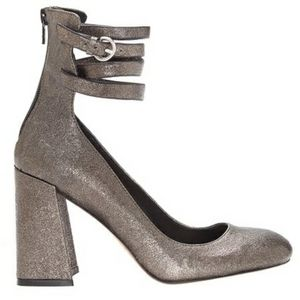 1. State Strappy Ankle Pumps Chunky Heel Metallic